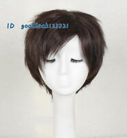 Cosplay Wig Short Dark Brown Synthetic men Hair Full Wigs +a wig cap