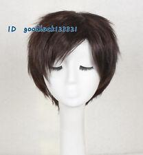 Juegos con disfraces Peluca Corta Pelo Sintético para Hombre Marrón Oscuro pelucas Completas + un casquillo de la peluca