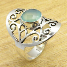 9.75 Size, CELTIC Ring ! JEWEL Classic Aqua Chalcedony Silver Plated Jewelry NEW