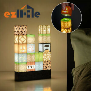 Minecraft Building Block Light Toy Night Light DIY Building Block Lamp Desk Lamp