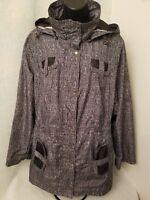 Untl Details NWOT Womens Black White Zipper Front Mesh Lined Jacket Coat Size 1X