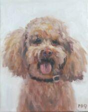 Artist PDQ Original Oil Painting Animal Pet Dog Poodle Doggy Art Realism Canvas