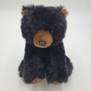 "Grizzly Bear 12"" Realistic Black Brown Soft Stuffed Sitting Furry Plush Animal"