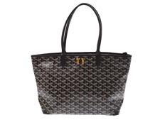 Goyard Artois PM Women's Canvas PVC Leather Tote Hand Bag Black Used