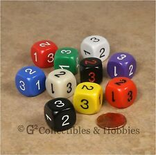 NEW Set of 10 D3 Six Sided 1 to 3 Twice - 10 Colors - Game Dice D&D RPG 16mm