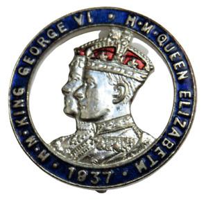 1937 Coronation Enamel Badge King George VI & Queen Elizabeth