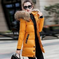 Womens Down Coat Fur Hood With 90% Down Parka Puffer Jacket Slim Fit Long Coats