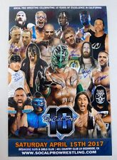 Rey Mysterio Paul London Rocky Romero SoCal Pro Wrestling Signed Poster 20x30