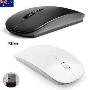 AU Slim 2.4GHz Optical Wireless Mouse USB Receiver For Laptop PC Black / White