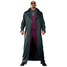 Morpheus Costume Adult The Matrix Long Coat & Glasses Halloween Fancy Dress