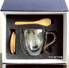 Starbucks Double Glass Cup Coffee Mugs W/ Wood lid&spoon&Gift box Customized NEW