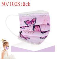 50-100x Schmetterlings Muster Drucke 3-lagig Gesichtsvisier Mund Atemschutzmaske