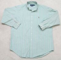 Ralph Lauren Dress Shirt 16 32/33 Large Green White Blue Button Up Long Sleeve