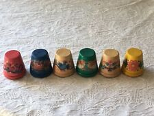 Vintage- Anri Italy Hand Crafted Rare Wooden Thimbles Lot Of 7-Different Designs