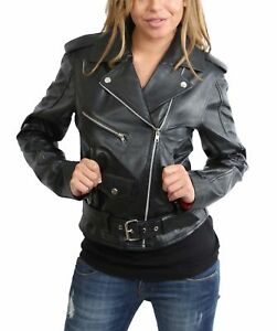 LLD Ladies Real Leather Brando Biker Style Fitted Jacket Short Length Black