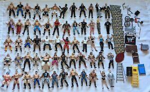 VTG 90's Y2K WWE / WWF Wrestling Figures & Accessories HUGE Lot of 60 Figures