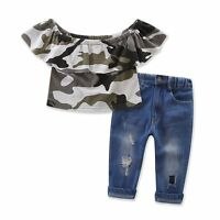 Toddler Kids Baby Girls Outfits Clothes Camo T-shirt Tops + Pants Jeans 2PCS Set