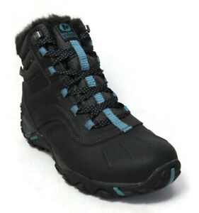 MERRELL ATMOST MID WOMEN'S BLACK/BLUE WATERPROOF BOOTS #J324906C
