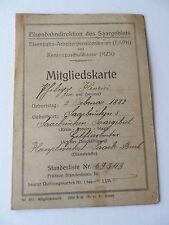 Mitgliedskarte  Eisenbahndirektion des Saargebiets   (Q864)