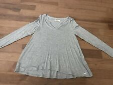 Womens Hollister Notch-Front Ribbed Long Sleeve Top Shirt Size Small Gray
