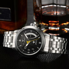 Mens Skeleton Automatic Mechanical Wrist Watches Stainless Steel Date Watch