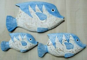 Tropical Fish Wall Sculpture Beach Decor set 3 Patio Island Wood Carved Cottage