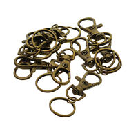 10pc Metal Swivel Clasp Lanyard Snap Hook Lobster Claw Clasps with Key Rings