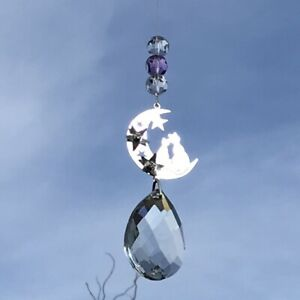 New Hanging 3D Cat and Moon Sun Catcher with Large Glass Crystal Drop Gift Idea