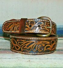 Vintage Sheyenne Sheridan Style Fully Tooled Brown Leather Western Belt 34 New