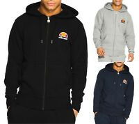ellesse Mens Cotton Zip Up Miletto Hooded Sweatshirt Top Black Blue Grey Hoodie