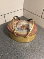 "Vintage Oval Tin Metal Basket w/ Handles Small Picnic Box 11x8-1/2x4-1/4"" YeOlde"