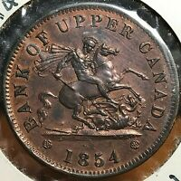 1854 PLAIN 4 BANK OF UPPER CANADA ONE PENNY TOKEN NEAR UNCIRCULATED