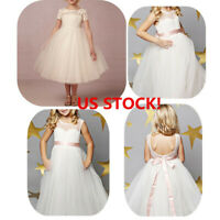 US Flower Girl Dress Lace Princess Party Wedding Bridesmaid Pageant Formal Gown