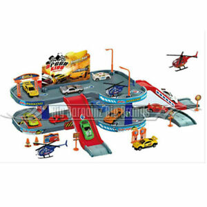 Super Parking Toy Garage Petrol Station Play Set + 3 Cars & 1 Helicopter NEW