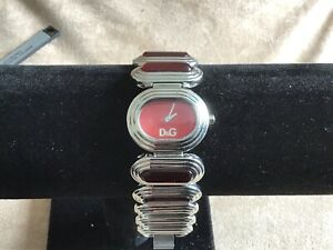 Ladies D&G Time Watch Red Dial Red Glass And Stainless Steel Link Bracelet
