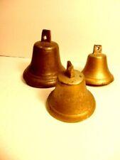 3 older cast metal bells - larger bell has crack/ damage but will ring