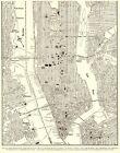 1943 Vintage MANHATTAN City MAP New York City Street Map Modern Wall Art 9435