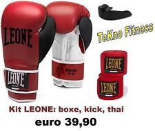 KIT BOXE LEONE : GUANTONI 10OZ+FASCE+PARADENTI BOXE KICK BOXING THAI BOXE MMA