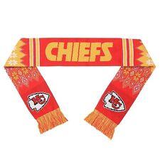 "Kansas City Chiefs Football Team Logo NFL 60"" Lodge Woven Knit Acrylic Scarf NEW"