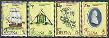 ST HELENA 1979 VOYAGES CAPTAIN COOK Ship Discovery Flower Set 4v MNH