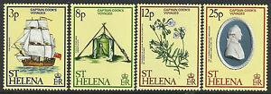 ST HELENA 1979 VOYAGES CAPTAIN COOK Ship Discovery Flower Set 4v MNH
