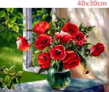 UK Red Poppy Flowers 5D Diamond Painting Embroidery Cross Stitch Kit Home Decor
