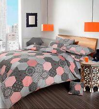 Hexagon Honeycomb Geometric Grey Duvet Cover Bedding Set Single Double King NEW