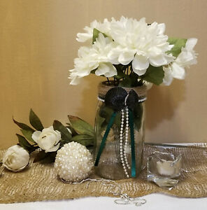 Mason Jar Wedding Centerpiece with Rhinestones Beach Decor  Beach Theme Wedding