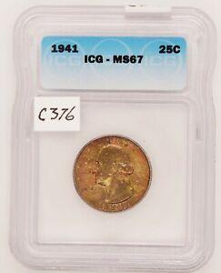 1941 Washington Silver Quarter, ICG MS67, Graded in Holder, c376