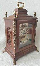 Warmink Clock Vintage Dutch Rare Square Mantel Nut Wood Night Switch Moonphase