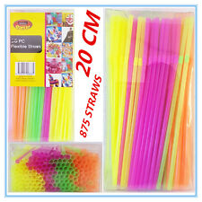 875 X FLEXIBLE PLASTIC COLOURFUL DRINKING STRAWS 20 CM PARTY WEDDING FUNCTION A