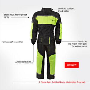 Black 100% Waterproof Hi Viz Two 2 Piece Rain Suit Full Body Motorbike Oversuit