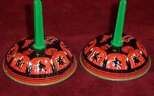 2 Vintage Halloween U.S. Metal Toy Tin Litho Bell Noise Makers Witches, Pumpkin