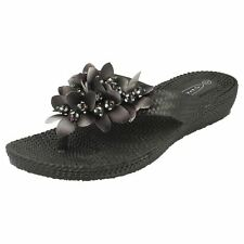 Ladies Spot on Lightweight Toe Post Sandals F10311 Style K Black 8 UK Regular